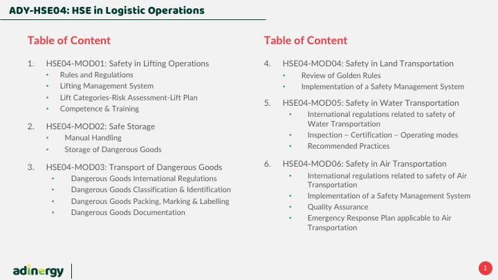 HSE in logistic operations